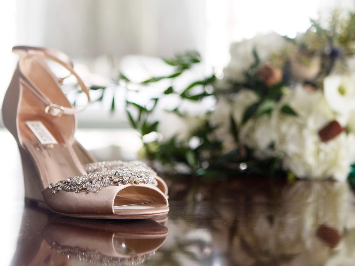 Bride's shoes and flowers