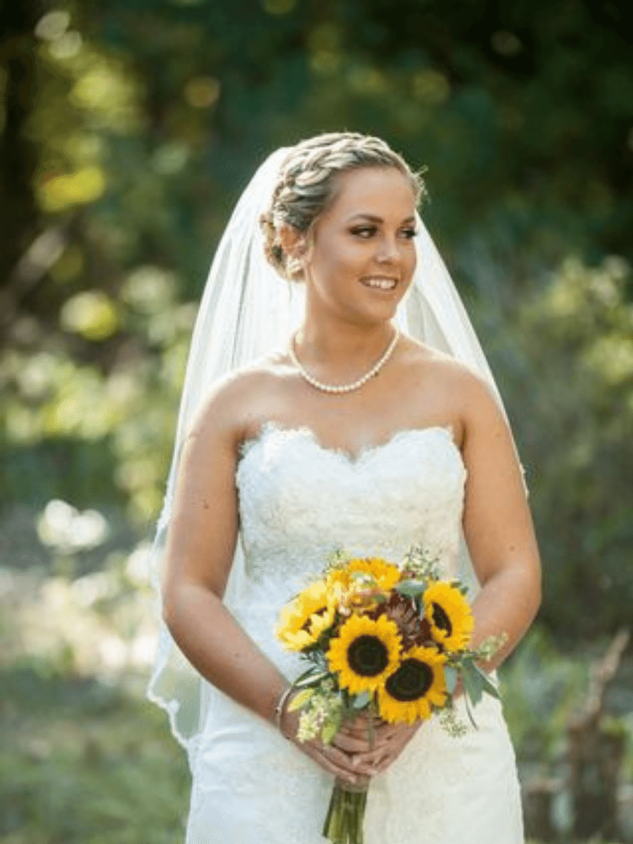 Beautiful Bride with Sunflower Bouquet