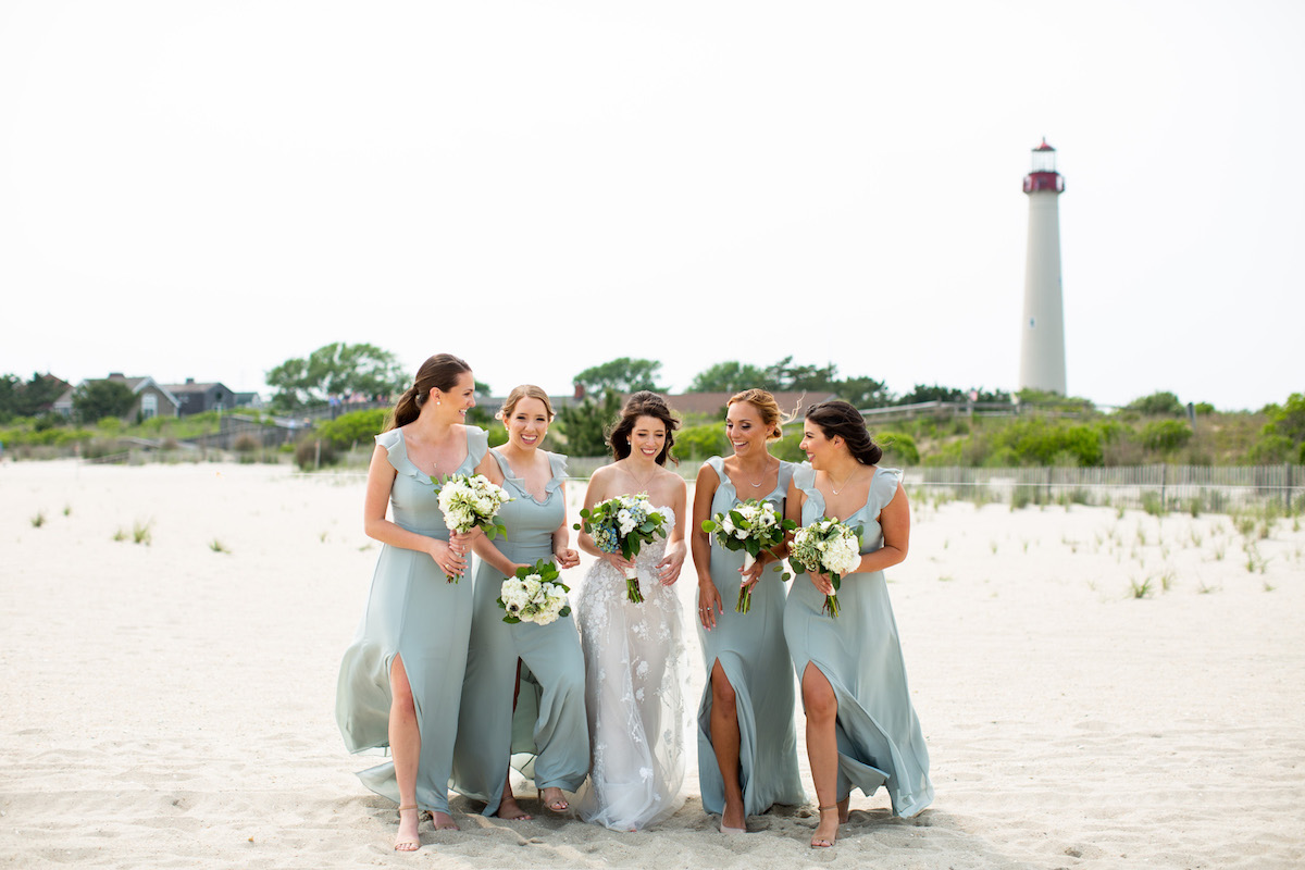 Bride and Bridesmaids in Cape May