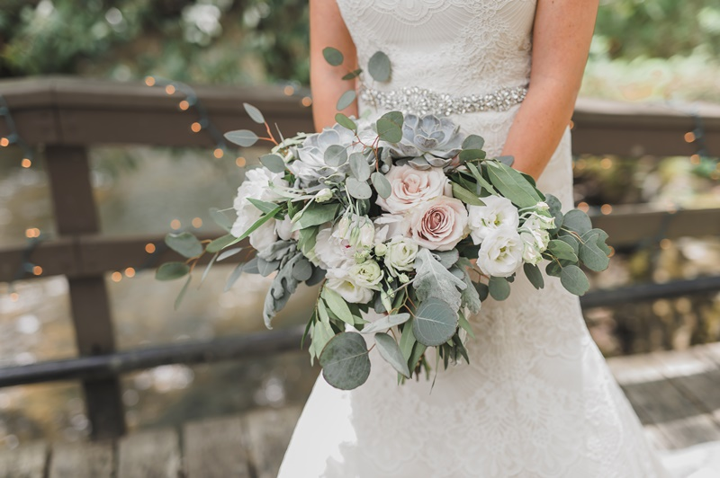 Ivory, White and Gray Wedding Bouquet
