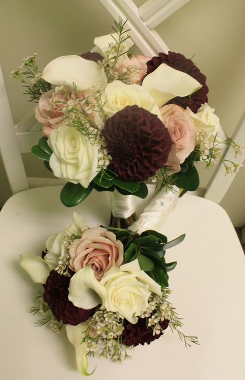 Burgundy/Ivory Bridesmaid Bouquet