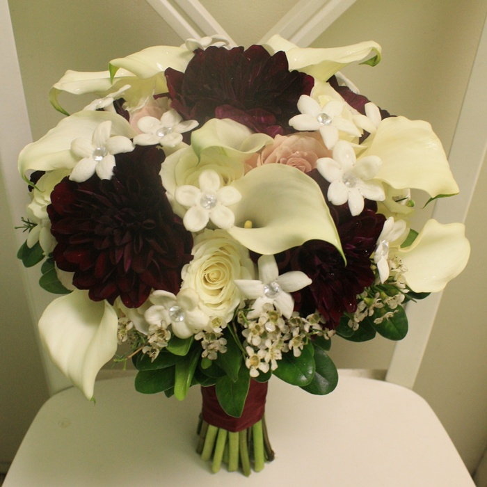 Burgundy/Ivory Bridal Bouquet
